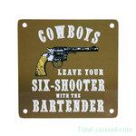 Curio metalen plaatje met magneet, Cowboys