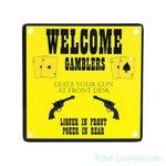Curio metalen plaatje met magneet, Welcome Gamblers