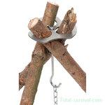 Fox outdoor driepoothouder, roestvrij staal, met ketting en haak