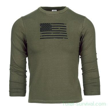 101 INC Kinder t-shirt USA lange mouw, legergroen