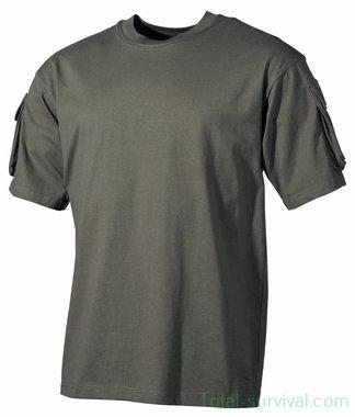 US short sleeve shirt met mouwzakken, OD groen