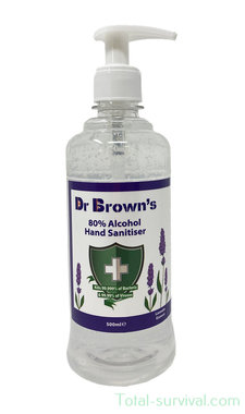 Dr. Brown's Desinfecterende handgel 500ml, 80% alcohol, met dispenser, lavendel