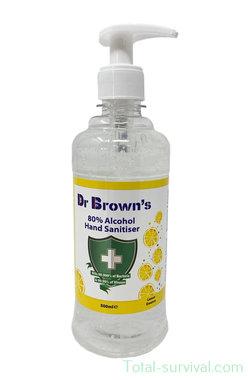 Dr. Brown's Desinfecterende handgel 500ml, 80% alcohol, met dispenser, lemon