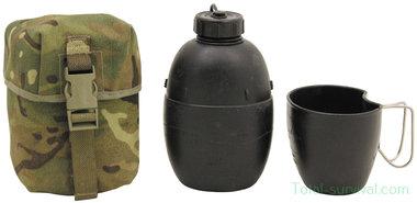Britse Crusader veldfles 1L met beker en MTP camo tas