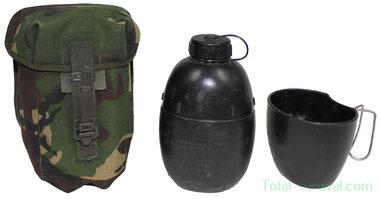 Britse Crusader veldfles 1L met beker en DPM camo tas