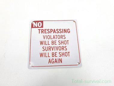 Curio metalen plaatje met magneet, No Trespassing