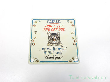 Curio metalen plaatje met magneet, Don't Let The Cat Out