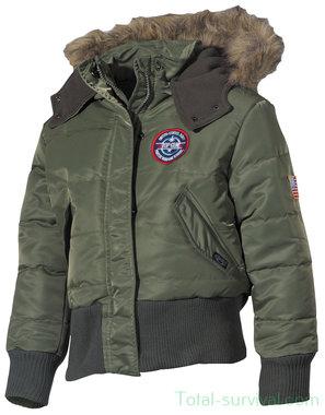 MFH US Kids Polar Jack, N2B, legergroen, met bontkraag