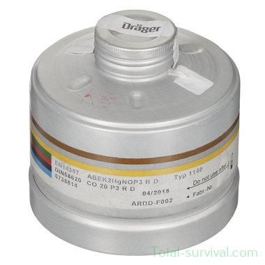 Dräger ARDD-F002 combifilter EN14387 (A2B2E2K2HgCONOxP3 R D) met EN-148 RD40 schroefdraad