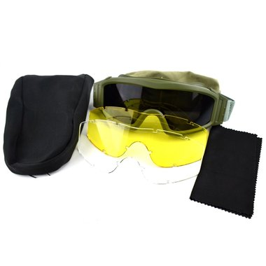 MDP veiligheidsbril met extra glazen en beschermhoes, groen
