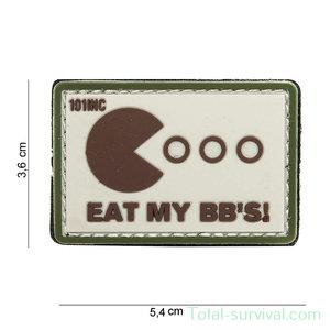 "101 INC 3D PVC patch "" Eat my BB's ""  Beige/Green"