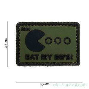 """101 INC 3D PVC patch """" Eat my BB's """"  Green/Black"""